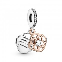 Two-tone Rose Dangle Charm...